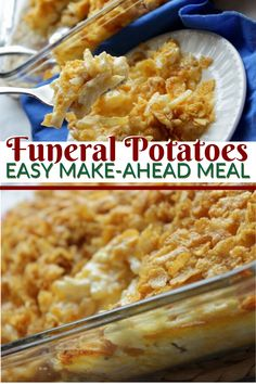 Baked Cheesy Potatoes (Funeral Potatoes) -Don't get spooked with this funeral potatoes recipe with hashbrowns. This cheesy potatoes baked easy with corn flakes and butter mixture is by far the best! This easy cheesy potatoes (bake) is always o Side Dishes For Ham, Dinner Side Dishes, Potato Side Dishes, Dinner Sides, Vegetable Side Dishes, Side Dish Recipes, Best Potluck Dishes, Kid Recipes Dinner, Easter Side Dishes