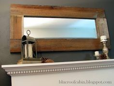 Old wood framing a mirror - try this with a larger mirror to be used as a full length leaning mirror