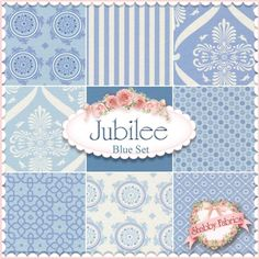 "Jubilee  9 FQ Set - Blue by Bunny Hill Designs for Moda Fabrics: Jubilee is a nursery collection by Anne Sutton of Bunny Hill Designs for Moda Fabrics.  100% cotton.  This st contains 9 fat quarters, each measuring approximately 18"" x 21""."