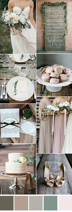 gorgeous neutral forest wedding color ideas