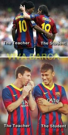 The Teacher, The Student Messi Vs Ronaldo, Lionel Messi, Fc Barcelona, Fifa, Real Madrid, Funny Football Memes, Cr7 Junior, Soccer Motivation, Soccer Inspiration