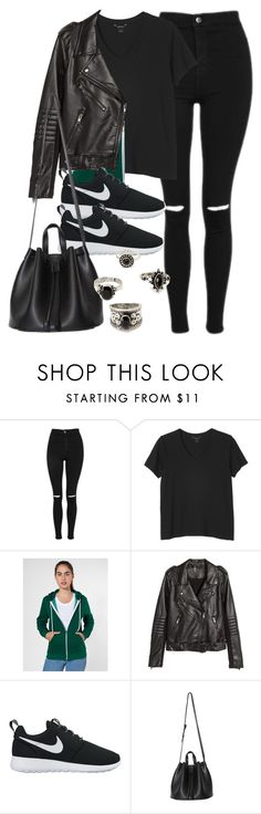 """""""Style #11582"""" by vany-alvarado ❤ liked on Polyvore featuring Topshop, Monki, American Apparel, H&M, NIKE and Forever 21"""