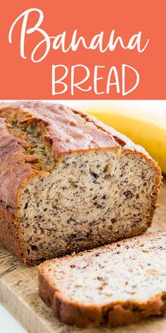 Banana Bread - Moist and delicious banana bread recipe. Easy to make no need for a mixer! Ripe bananas butter sugar egg vanilla baking soda and flour. Köstliche Desserts, Delicious Desserts, Dessert Recipes, Yummy Food, Dinner Recipes, Delicious Chocolate, Easy Bread Recipes, Banana Bread Recipes, Cooking Recipes