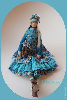 """Купить Кукла """"Иринка-Бирюзинка"""" - тёмно-бирюзовый, тильда кукла, авторская кукла, кукла в подарок☆"""