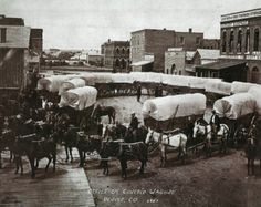 Circle of Covered Wagons,  Denver, Colorado 1865 (Awesome!)