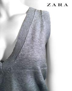Zara Amazing Gray Cotton Women Vest Top _ Size: Large // 30 #ZARA Amazing Grays, Shirt Blouses, Shirts, 30th, Zara, Vest, Turtle Neck, Grey, Sweaters