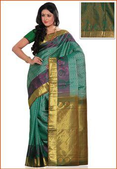 Green Shot Tone Pure Kanchipuram Handloom Silk Saree with Blouse