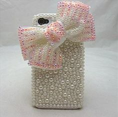 Amazon.com: Faux Pearl 3d Bow Handmade Crystal & Rhinestone Iphone 4 case/cover by Jersey Bling: Cell Phones & Accessories