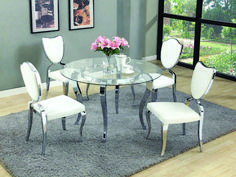 Letty Collection 5 Piece Round Dining Table Set on sale every day at Hayneedle. Shop our collection of 5 Piece Round Dining Table Set and get savings of or more! Glass Dining Room Table, Dining Room Sets, Dining Room Design, Dining Room Chairs, White Dining Set, Round Dining Table Sets, Modern Dining Table, Dining Tables, Small Dining