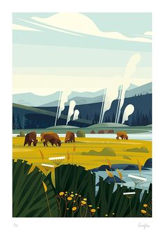 Cruschishop / YELLOWSTONE - Herd of buffalo illustrations illustration art art illustration paintings artwork art art art illustration Art And Illustration, Illustration Landscape, Illustration Design Graphique, Art Graphique, Landscape Art, Animal Illustrations, Mountain Illustration, Character Illustration, Illustrations Posters