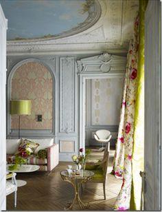 Chevron Floors and gorgeous fabric