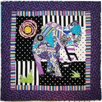 Ellie The Elephant Quilt Pattern by Ellen Medlock at KayeWood.com. This is an Intermediate Level Machine Applique pattern designed using Ellen Medlock Studio fabrics! Colorful and vibrant, she will steal your heart like she stole ours!