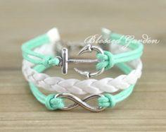 bracelet,anchor,infinity bracelet,anchor bracelet, infinity love,mint bracelet, bridesmaid bracelet, friendship gift