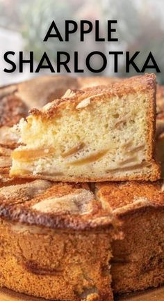 Sharlotka is the easiest Russian apple cake that's made with layers of fluffy 3 ingredient sponge cake and apples. The sugar crust on top adds a pleasant crunch. And it's made with only 4 ingredients that you probably already have.