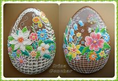Easter egg-basket with flowers Flower Cookies, Easter Cookies, Easter Treats, Fun Cookies, Cupcake Cookies, Sugar Cookies, Easter Egg Basket, Easter Eggs, Easter Deserts