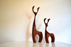 Items similar to Danish Modern Wooden Deer Pair 17 & 10 inch on Etsy