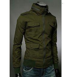 Stylish Slimming Stand Collar Multi-Pocket Long Sleeves Cotton Blend Jacket For Men (ARMY GREEN,L)   Sammydress.com