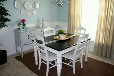 dark top, white table...when i get a table like this im painting my buffet white too! yay!