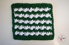 "FREE - CROCHET - Silt Stitch Dishcloth ~ easy level ~ finished size comes in 3 sizes:  6"", 9"" or 12"" square"