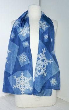 FLASH SALE over 20% off    Snow Patch cyanotype silk scarf  - FLASH SALE. $95.00, via Etsy.