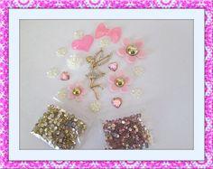 3D phone deco alloy rhinestone gold pink fairy by KawaiiDamaras, $10.99