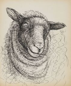 Henry Moore, Untitled, head of a sheep, 1972. Pen and ink drawing. Via Ketterer