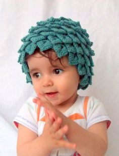 Crocodile Stitch Oil Green Baby Hat - for Baby or Toddler-Baby Girl or Boy Hat. via Etsy.