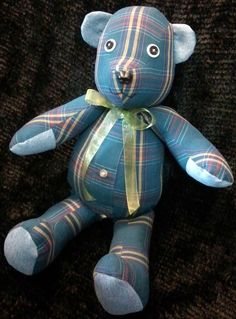 Memory Bear made from a mans shirt. Great way to use a loved ones clothing after they pass. Love my bears from my Dad's clothes!!!