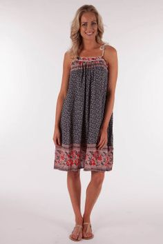 Ellis & Dewey Border Print Dress - Womens Knee Length Casual Dresses - Birdsnest Online