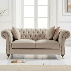 Holbrook chesterfield 2 seater sofa in grey linen with wooden legs, elegant and stylish sofa will make a stunning addition to any home decor - 38016 modern, contemporary fabric 2 seater sofa under sale. Beige Sofa, Linen Sofa, Tufted Sofa, Chesterfield Sofa, Sofa Pillows, Seat Cushions, Sofa Chair, Grey Velvet Sofa, Blue Velvet