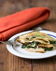 Grilled Cheese Crepes with chard and dill, from A Couple Cooks.