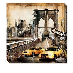 Framed Vintage Car Cityscape Canvas Painting Prints Picture Wall Art Home Decor #DongLinart #Vintage