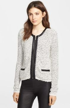 Joie 'Jacolyn B' Leather Trim Cardigan available at #Nordstrom
