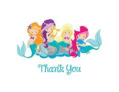 Mermaids | Printed Thank You Cards Folded Flat Card Notecard Stationery | Birthday Baby Shower Bridal Wedding | Gift Stationery