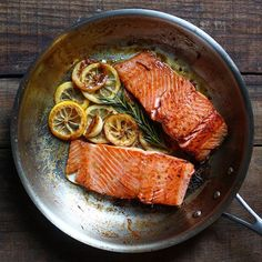 Pan seared salmon cooked with only 3 ingredients lemon, garlic, and rosemary. Simple but when it's…