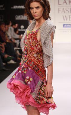Mirrorwork, Patchwork, embroidery, single piece, traditional indian textile art, Miriam Strehlau-Lakme Fashion  Week