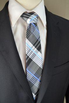 c4fe5384e6af New Mens Brand Q Gray with Blue Glen Plaid Skinny Suit Neck Tie & Pocket  Square