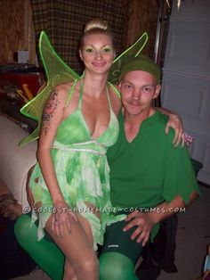 Coolest Peter Pan and Tinker Bell Homemade Couple Costume  sc 1 st  Pinterest & Coolest Homemade Couple Costume ideas for Under $20 | Homemade ...