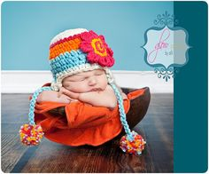 SALE  Teal and Orange Newborn Crochet Hat  Ear Flap Hats by imomz
