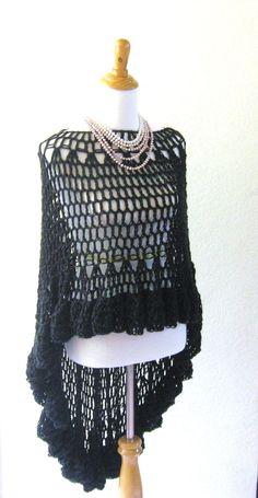CROCHET BLACK PONCHO Shawl Victorian Circle Vest  by marianavail, $87.00