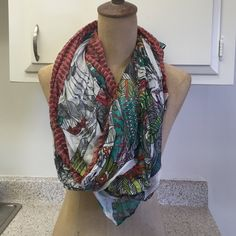 Colorful Summer Scarf Bright colored, light weight summer scarf with parrot print. Rectangle scarf. Accessories Scarves & Wraps