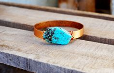 Turquoise & Wide Metal Bangle Bracelet by Jeri Vann Creations on Etsy