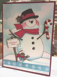 Ai Mouthfuls Snowman from Art Impressions.  Christmas winter card.
