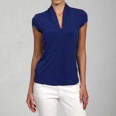 Grace Women's Cap Sleeve High Back V-Neck Top