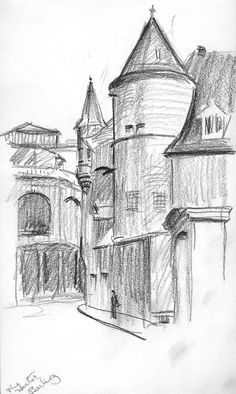 Sketch from trip to Europe by Harry E. Louvre, Sketch, Europe, Building, Travel, Art, Sketch Drawing, Craft Art, Buildings