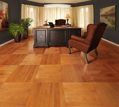 Cube pattern! - Mirage Floors, the world's finest and best hardwood floors. www.miragefloors.com #Mirage #Hardwood #Floor #Maple #Nevada #Herringbone #Cube #Pattern #Office #Desk