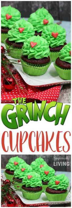 The Grinch Cupcakes Simplistically Living (christmas goodies grinch) Thanksgiving Cupcakes, Christmas Cupcakes, Christmas Desserts, Christmas Treats, Holiday Treats, Holiday Recipes, Thanksgiving Prayer, Thanksgiving Appetizers, Thanksgiving Outfit