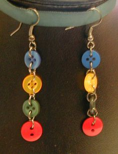 Rainbow Button Earrings by *fairy-cakes on deviantART