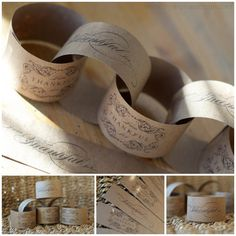 Really like the look of this paper chain, this could be used in lots of ways.  I'm thinking natural wedding shower theme with burlap, different verbage.