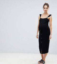 ASOS Maternity ASOS MATERNITY Midi Tank Dress with Frill Straps and Popper Placket #ad